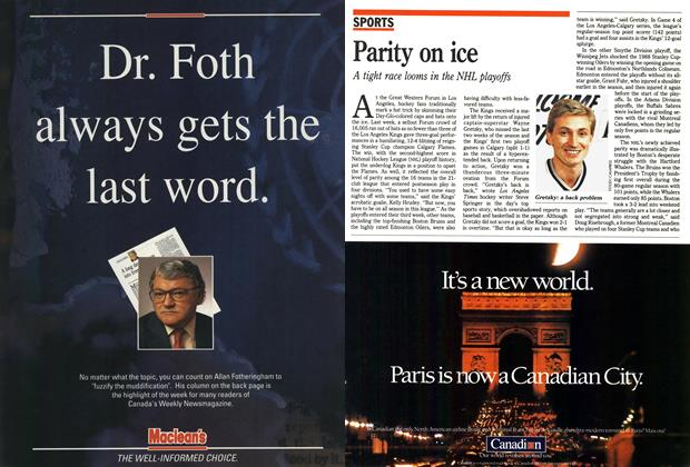 Article Preview: Parity on ice, April 1990 | Maclean's