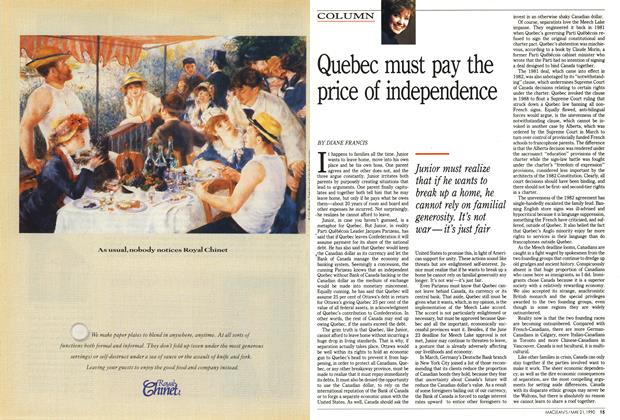 Article Preview: Quebec must pay the price of independence, May 1990 | Maclean's