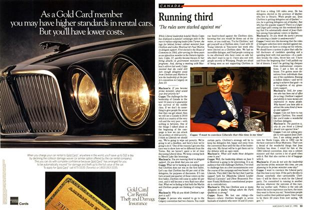 Article Preview: Running third, May 1990 | Maclean's