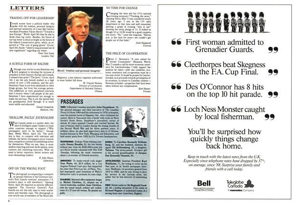 Article Preview: LETTERS, May 1990 | Maclean's