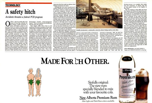 Article Preview: A safety hitch, May 1990 | Maclean's
