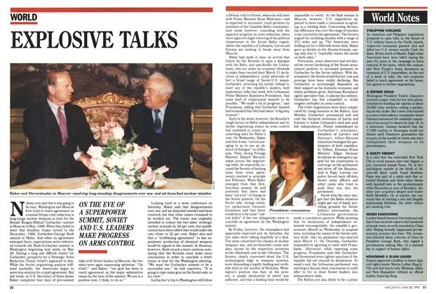 Article Preview: EXPLOSIVE TALKS, May 1990 | Maclean's