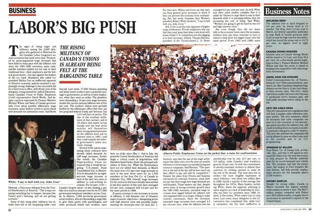 Article Preview: LABOR'S BIG PUSH, May 1990 | Maclean's