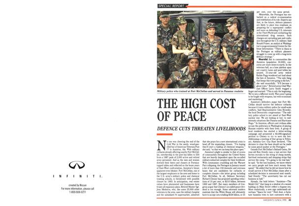Article Preview: THE HIGH COST OF PEACE, June 1990 | Maclean's