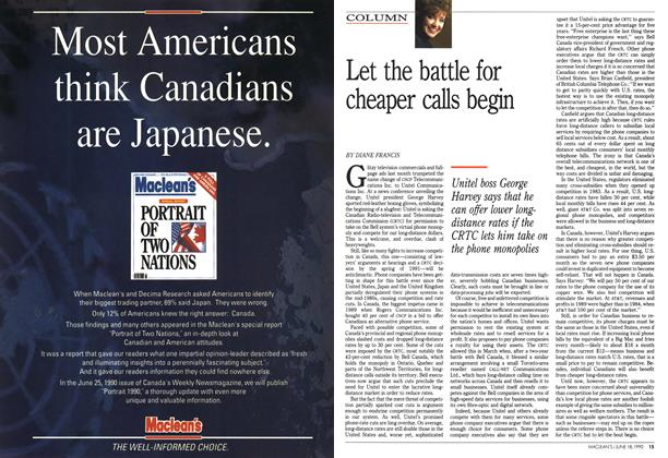 Article Preview: Let the battle for cheaper calls begin, June 1990 | Maclean's