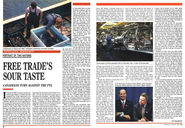 Article Preview: FREE TRADE'S SOUR TASTE, June 1990 | Maclean's