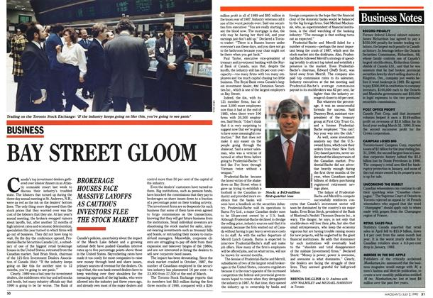 Article Preview: BAY STREET GLOOM, July 1990 | Maclean's