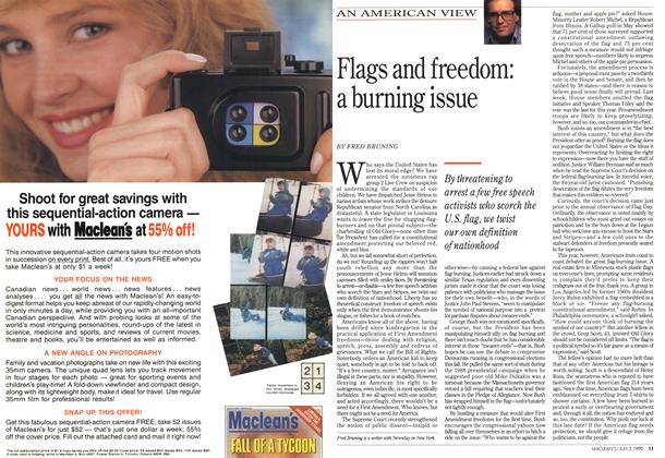 Article Preview: Flags and freedom: a burning issue, July 1990 | Maclean's