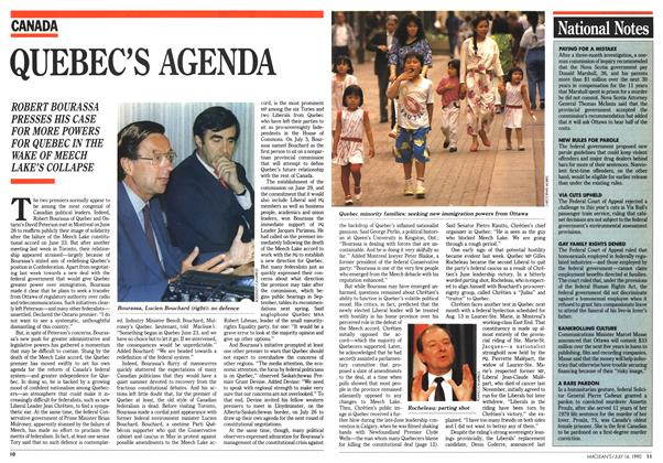 Article Preview: QUEBEC'S AGENDA, July 1990   Maclean's