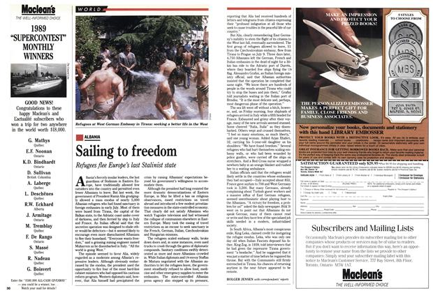 Article Preview: Sailing to freedom, July 1990 | Maclean's
