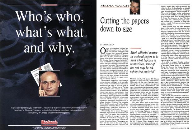 Article Preview: Cutting the papers down to size, July 1990 | Maclean's