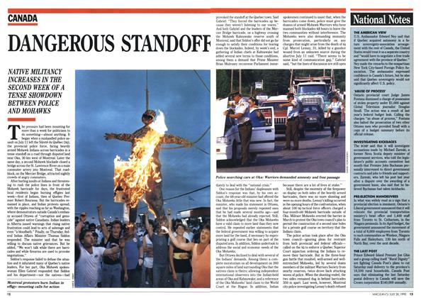 Article Preview: DANGEROUS STANDOFF, July 1990 | Maclean's