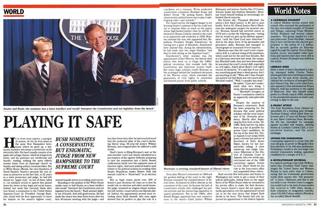 Article Preview: PLAYING IT SAFE, August 1990 | Maclean's