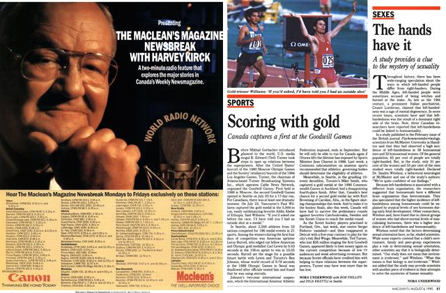 Article Preview: Scoring with gold, August 1990 | Maclean's