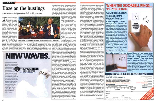 Article Preview: Haze on the hustings, August 1990   Maclean's