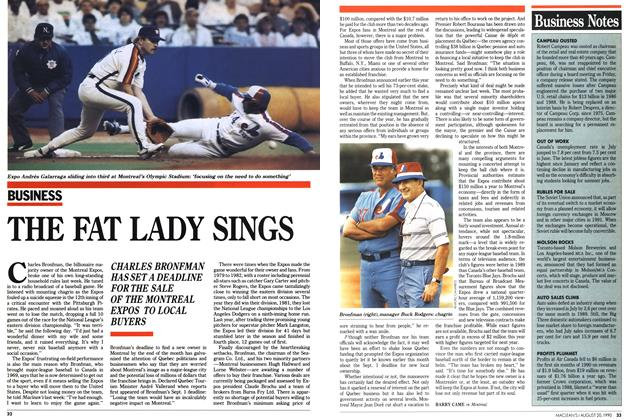 Article Preview: THE FAT LADY SINGS, August 1990 | Maclean's