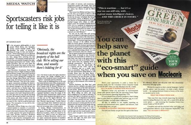 Article Preview: Sportscasters risk jobs for telling it like it is, August 1990 | Maclean's