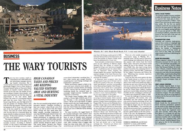 Article Preview: THE WARY TOURISTS, September 1990 | Maclean's