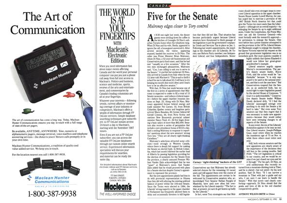 Article Preview: Five for the Senate, September 1990 | Maclean's