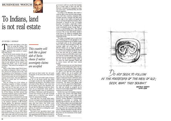 Article Preview: To Indians, land is not real estate, September 1990 | Maclean's
