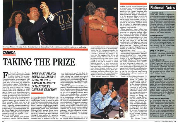Article Preview: TAKING THE PRIZE, September 1990 | Maclean's
