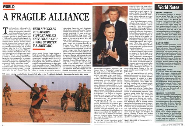 Article Preview: A FRAGILE ALLIANCE, September 1990 | Maclean's