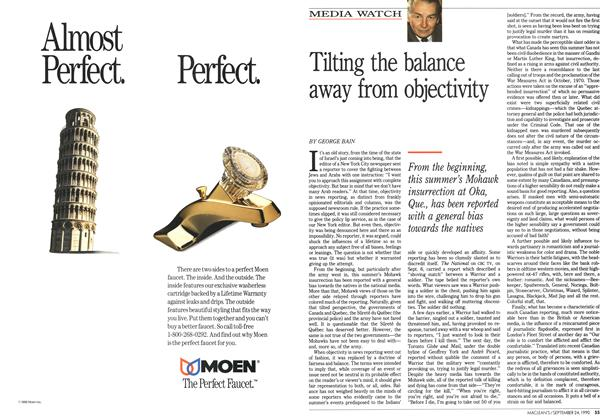 Article Preview: Tilting the balance away from objectivity, September 1990   Maclean's