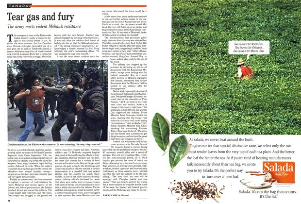 Article Preview: Tear gas and fury, October 1990 | Maclean's
