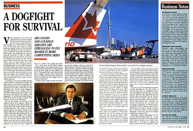 Article Preview: A DOGFIGHT FOR SURVIVAL, October 1990 | Maclean's