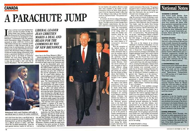 Article Preview: A PARACHUTE JUMP, October 1990 | Maclean's