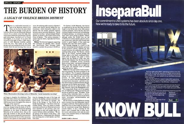 Article Preview: THE BURDEN OF HISTORY, October 1990 | Maclean's