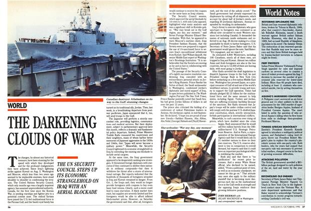 Article Preview: THE DARKENING CLOUDS OF WAR, October 1990 | Maclean's