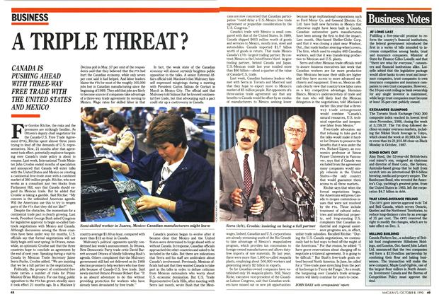 Article Preview: A TRIPLE THREAT?, October 1990 | Maclean's
