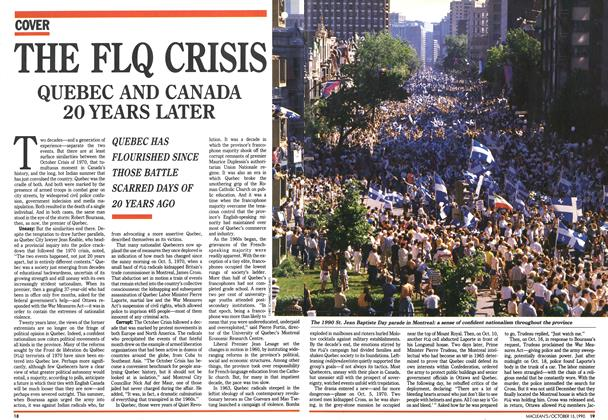 Article Preview: THE FLQ CRISIS QUEBEC AND CANADA 20 YEARS LATER, October 1990 | Maclean's