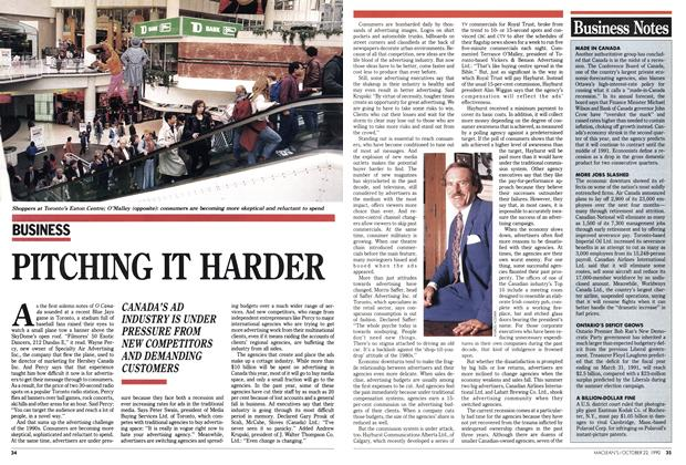 Article Preview: PITCHING IT HARDER, October 1990 | Maclean's