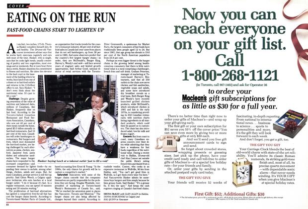 Article Preview: EATING ON THE RUN, October 1990 | Maclean's