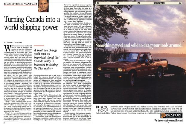 Article Preview: Turning Canada into a world shipping power, October 1990 | Maclean's
