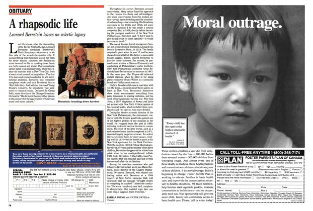 Article Preview: A rhapsodic life, October 1990 | Maclean's
