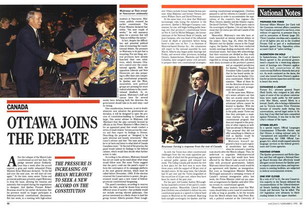 Article Preview: OTTAWA JOINS THE DEBATE, November 1990 | Maclean's