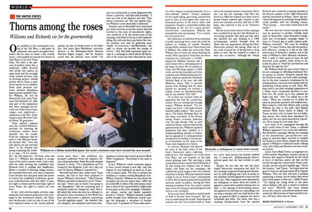 Article Preview: Thorns among the roses, November 1990 | Maclean's