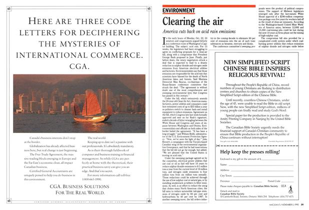 Article Preview: Clearing the air, November 1990 | Maclean's