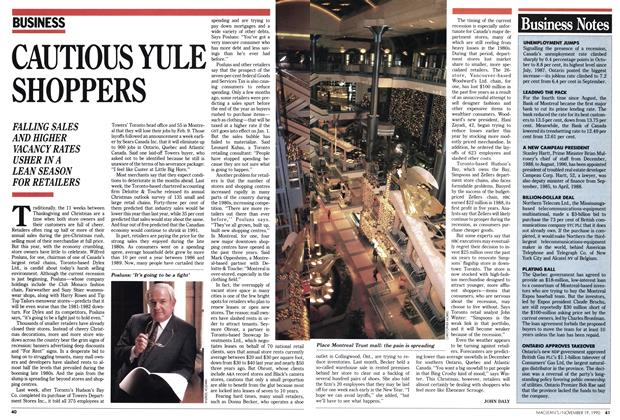 Article Preview: CAUTIOUS YULE SHOPPERS, November 1990 | Maclean's
