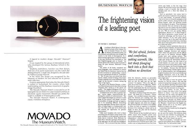 Article Preview: The frightening vision of a leading poet, November 1990 | Maclean's