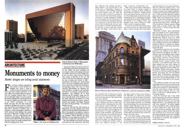 Article Preview: Monuments to money, November 1990 | Maclean's
