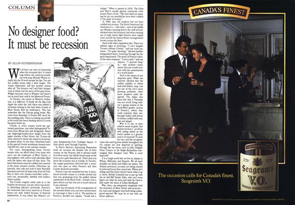 Article Preview: No designer food? It must be recession, November 1990 | Maclean's
