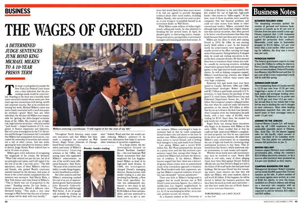 Article Preview: THE WAGES OF GREED, December 1990 | Maclean's