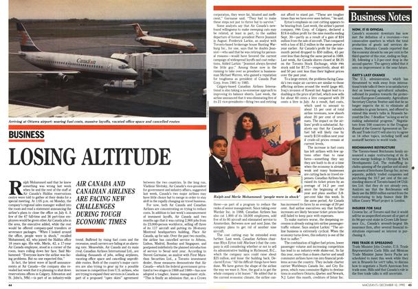 Article Preview: LOSING ALTITUDE, December 1990 | Maclean's