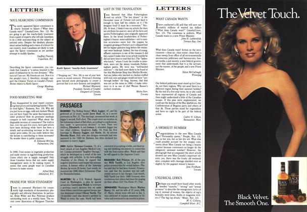 Article Preview: LETTERS, December 1990 | Maclean's