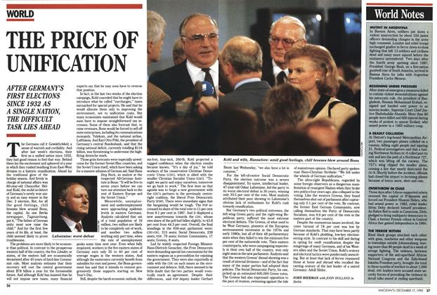 Article Preview: THE PRICE OF UNIFICATION, December 1990 | Maclean's