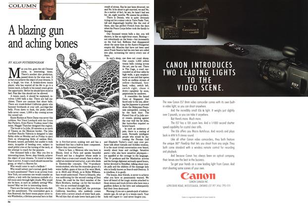 Article Preview: A blazing gun and aching bones, December 1990 | Maclean's